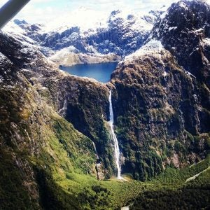 an aerial view of sutherland falls new zealand