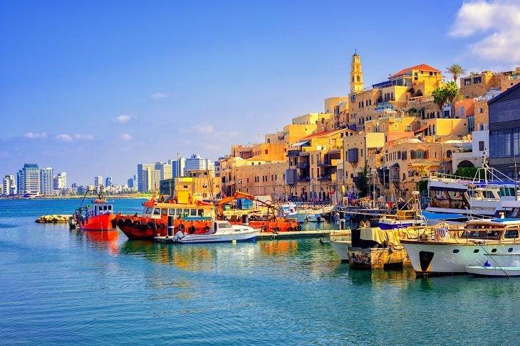 Tel Aviv_Old town and port of Jaffa and modern skyline of Tel Aviv city, Israel