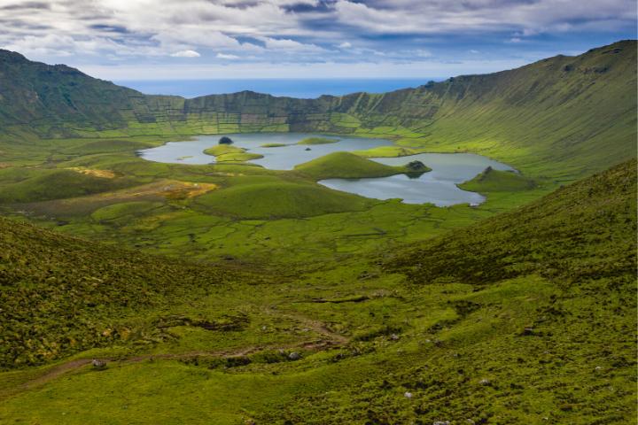 Aerial view on Caldeirão crater - Corvo, Azores