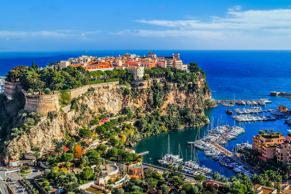 View of houses and the sea in Monaco in April