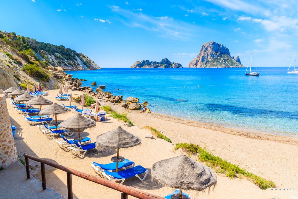 Ibiza beach on a sunny day in April