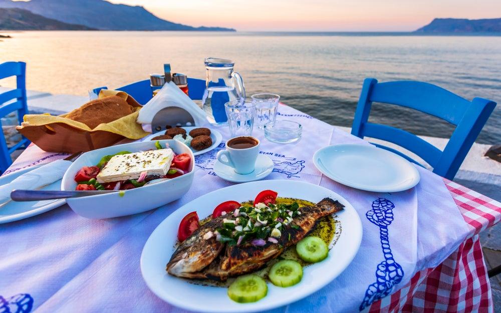 Traditional Cretan lunch overlooking the sea