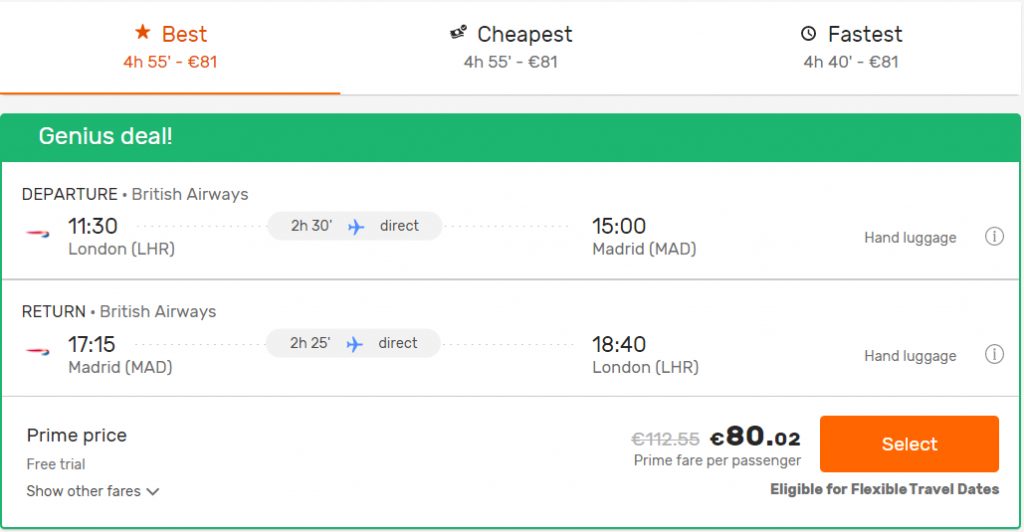 flight search on Opodo with Prime price